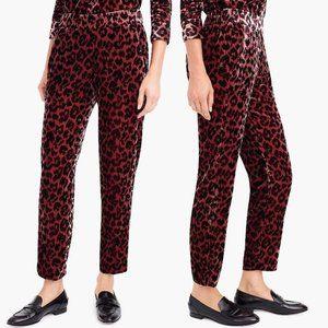 NWT J. Crew Velvet Leopard Print Easy Pants Size 8